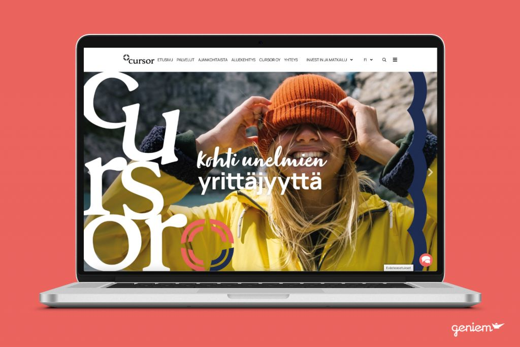 Cursor.fi sivustouudistus (mock up)
