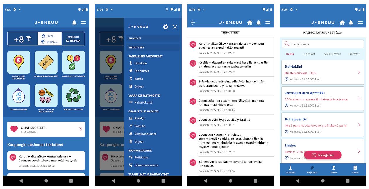 Joensuu-sovelluksen Android-näyttökuvat