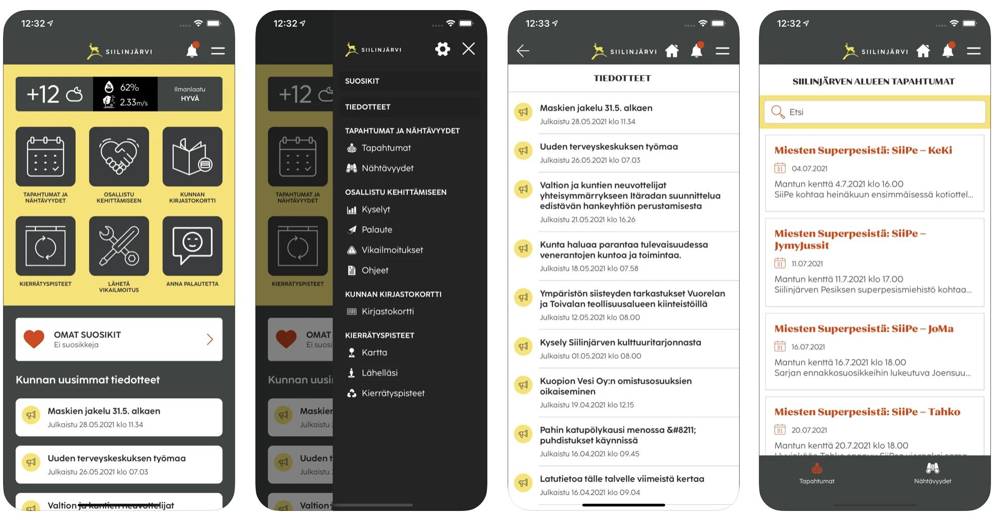 Siilinjärvi-sovelluksen iPhone näyttökuvat