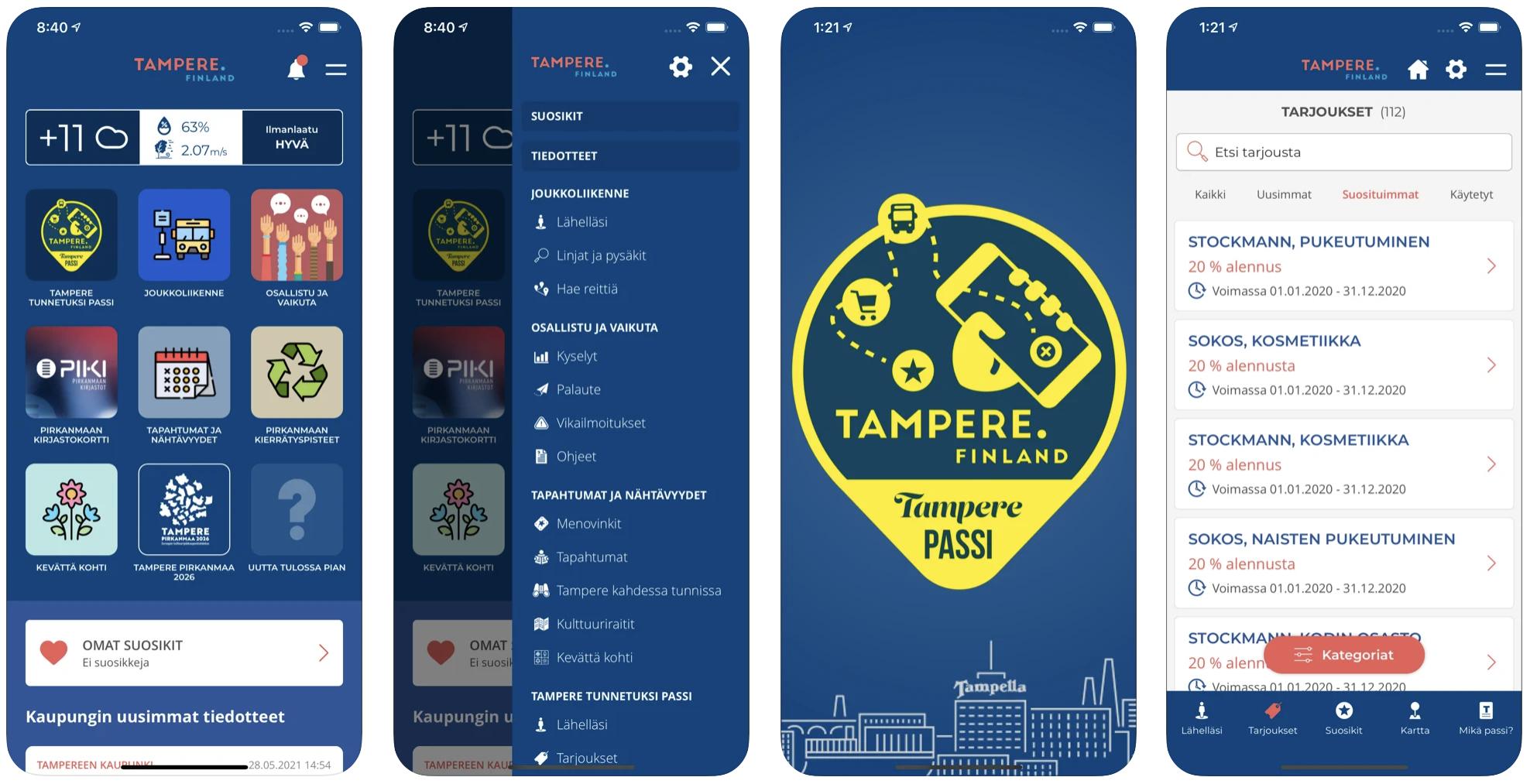 Tampere.Finland-sovelluksen iPhone-näyttökuvat