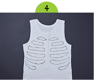 Bird's-eye view of white vest with black ribs drawn on