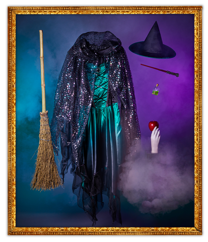 Floating George Halloween witch costume, broomstick, hat and more shrouded in smoke