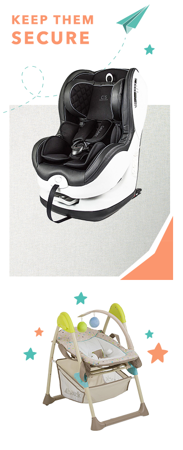 Ensure baby is comfortable during their early days with our range of car seats and bedding