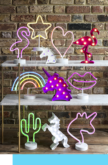 Choose outer space decorative lighting for the home. From neon table lamps to quirky symbols, which will you choose?