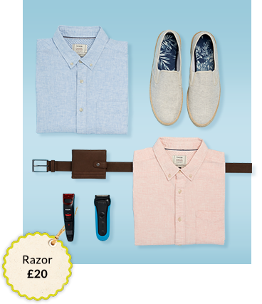 Ensure he's looking his best with our range of shirts and grooming
