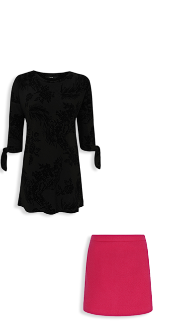Shop black roll neck jumper and pink woven skirt