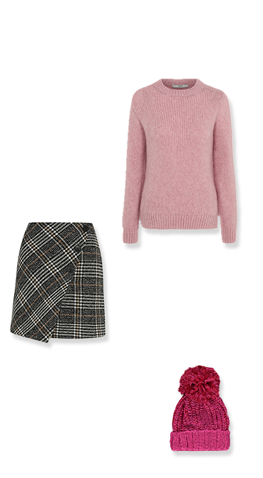 Brighten up winter blues with a pretty pairing of a pink jumper and check skirt
