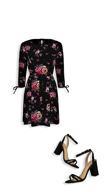 Bloom into autumn with a floral dress and strappy heels