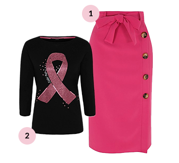 A black long sleeve top looks great against a raspberry-coloured skirt