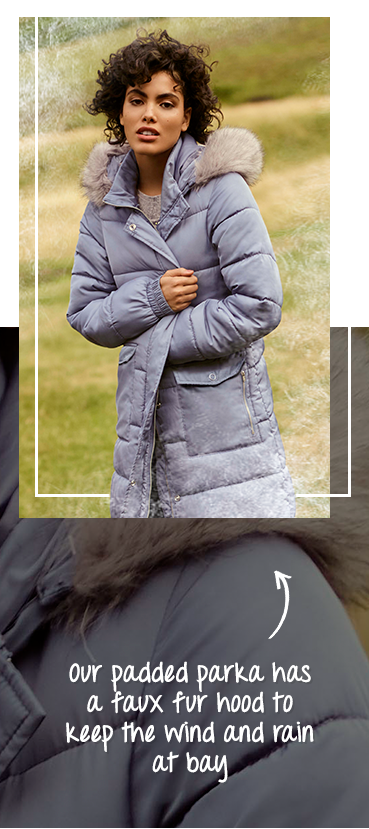 Our parka is padded for extra warmth and has a faux fur hood