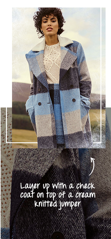 Made of of shades of greys, blues and whites, our check coat is a great choice