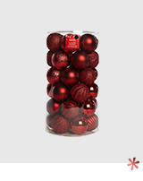 Make the tree merry and bright with red baubles