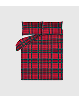 Snuggle down in a cosy brushed cotton tartan-themed bedspread