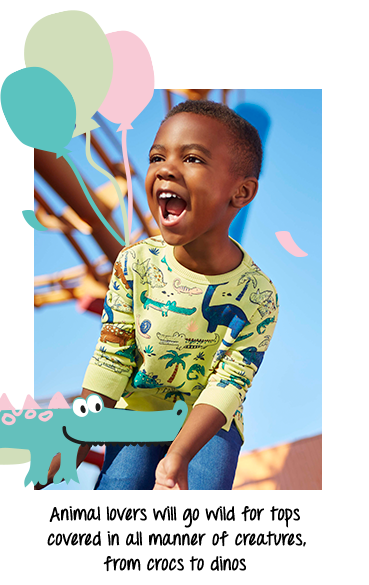 What's their favourite animal? This top is designed with dinosaurs and crocodiles