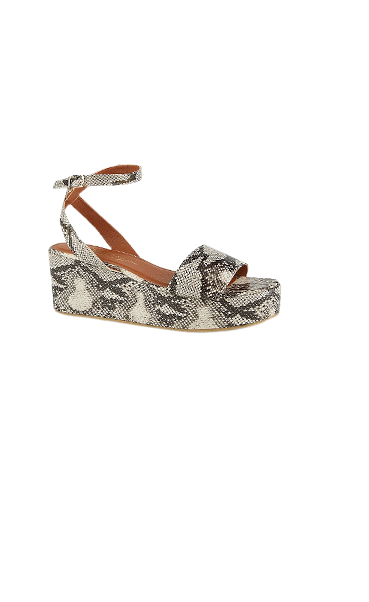 Step into style with these snakeskin-effect platform sandals