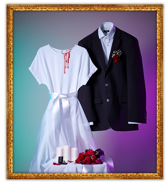 Gif of zombie bride and zombie groom Halloween costumes with blood dripping down the white dress and a table of LED candles and dying roses