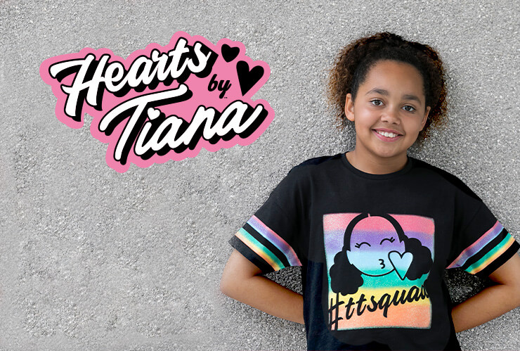 Explore our fun range of clothing and accessories from our Hearts by Tiana collection
