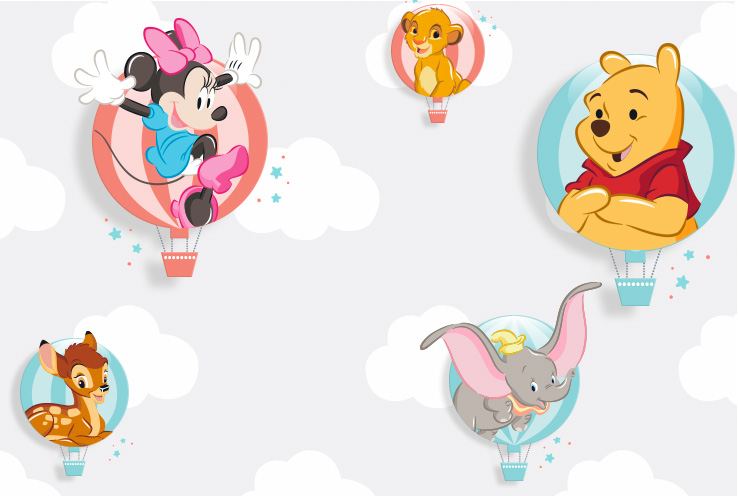 Disney character icons including Minnie Mouse, Simba from The Lion King, Winnie the Pooh and Dumbo