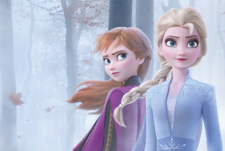 Anna and Elsa in a misty forest