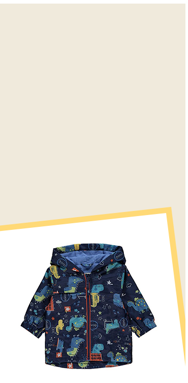 Keep little ones toasty warm and dry in this navy mac, designed with dinosaurs all over