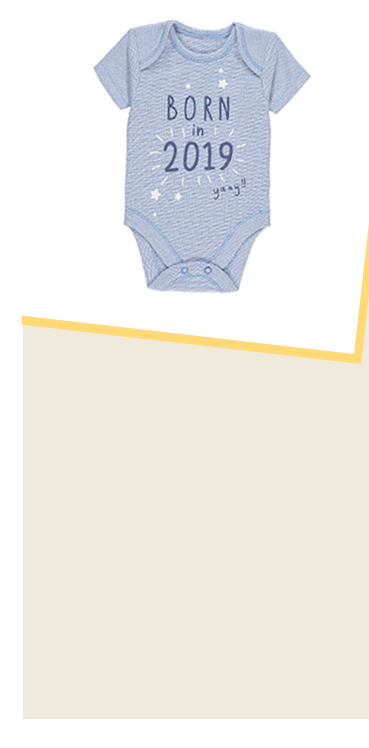 If 2019 is set to be a big year for you, we recommend welcoming your new arrival with this 100% cotton bodysuit