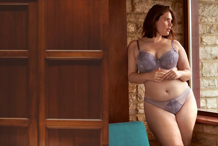 Woman wearing mauve lace lingerie set