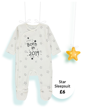 Shop star print sleepsuit