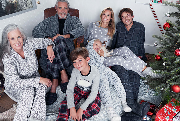 Cosy up this Christmas with our range of festive pyjamas for all the family.