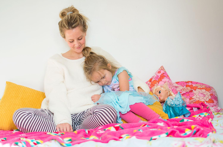 Mum and daughter in PJs