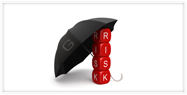 "red cubes spelling out the word ""risk"" with a black Geotab umbrella overhead"