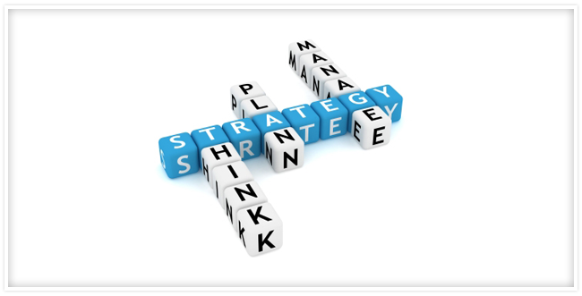 "Cubes that spell out ""Strategy"" and then the words ""think, plan and manage"" from it."