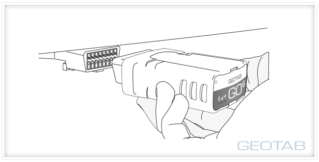 Black and white outline of a Geotab GO6 being plugged into a OBD port