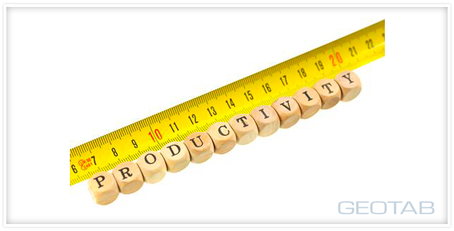"Yellow measuring tape with wood blocks next to it spelling out ""Productivity"""