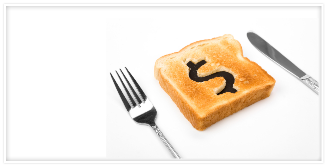 A piece of toast with a money sign on it and a fork and knife.