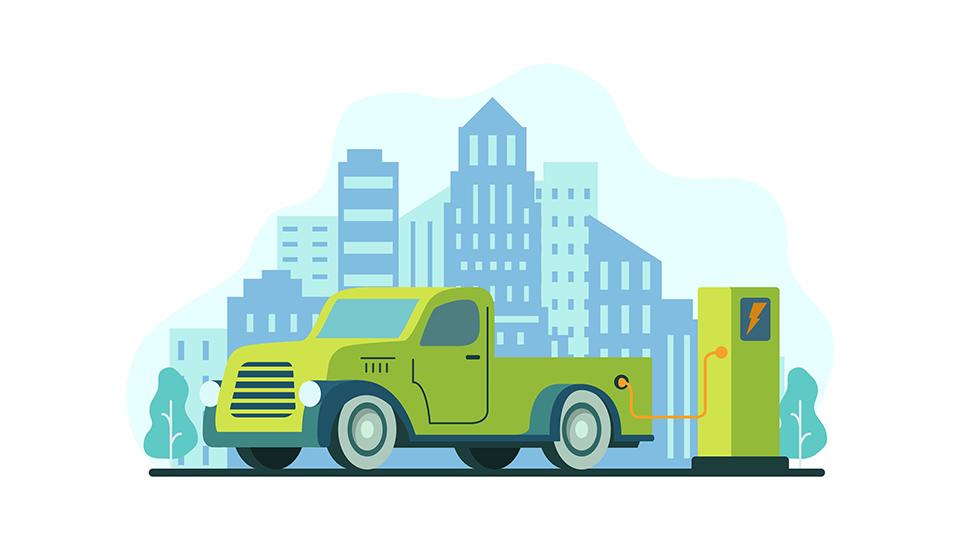 Disegno con un veicolo elettrico verde in sosta per ricaricare e sullo sfondo i grattacieli di una città