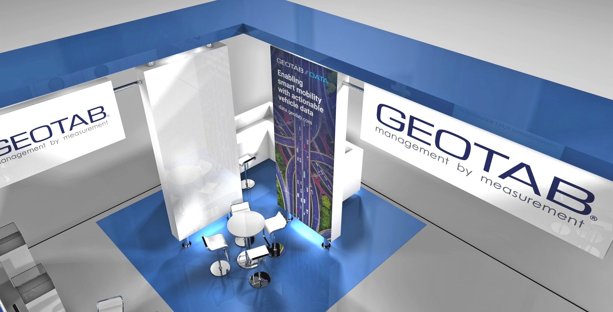3D mockup of the Geotab booth at UK Commercial Vehicle Show