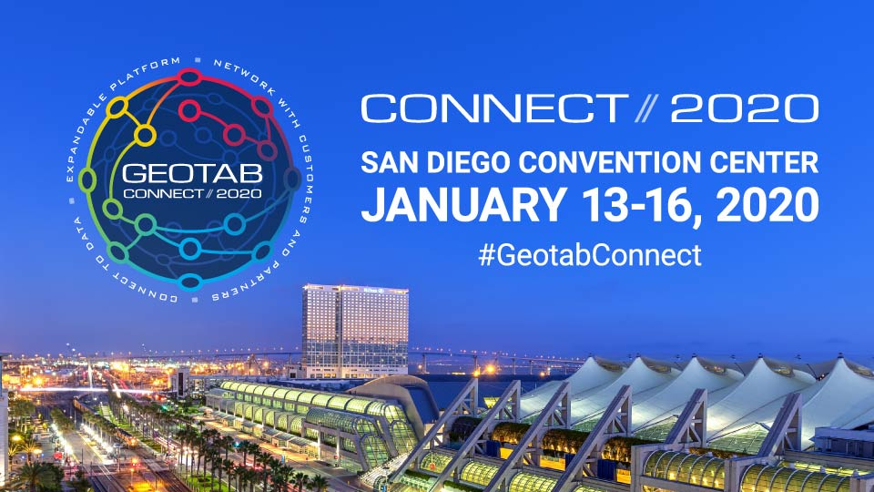 San Diego skyline with Geotab Connect logo in the left hand corner