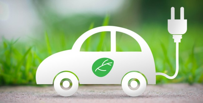 Illustration of EV in front of a green grass background
