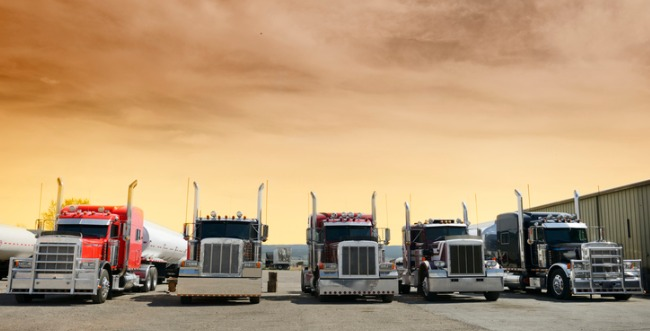 A lineup of semi trucks