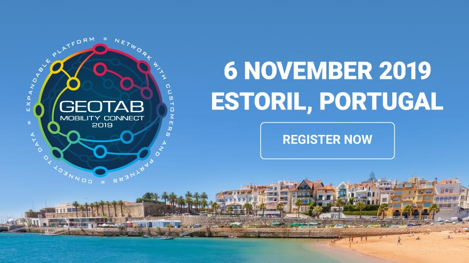 Photo of Estorial, Portgual with a Geotab Connect logo above it