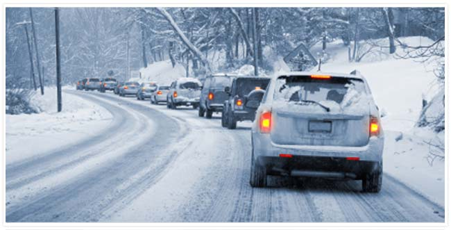 Cars stopped on a winter road