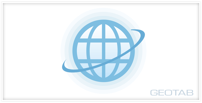 graphic of globe with geotab logo on a white background
