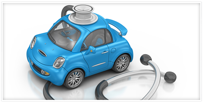 blue car with stethoscope