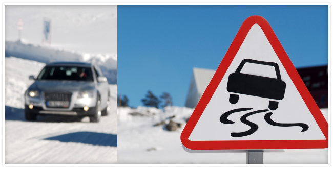 Car driving on snow with a traffic sign depicting vehicle swerving due to road conditions.