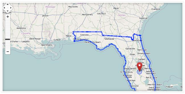 A screenshot of a map