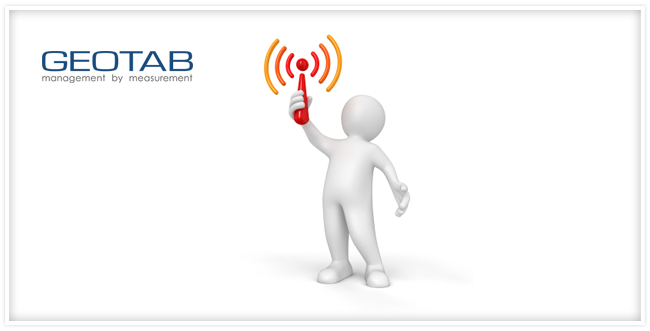 cartoon person holding wifi signal with geotab logo