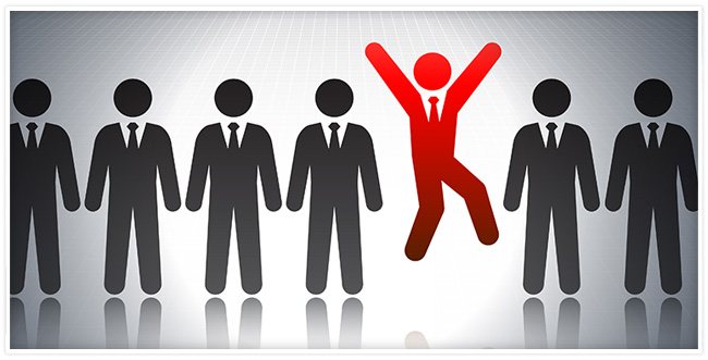 Employee figures standing in a line with a red figure jumping in the air
