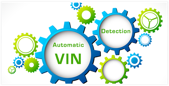 """Blue and green gears ranging from small to large with the words """"Automatic VIN"""" and """"Detection"""" in the large ones."""