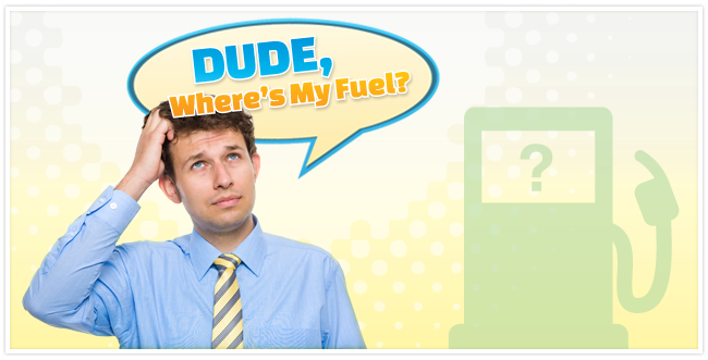"""Male wearing a blue shirt and yellow tie scratching his head with a green gas pump station next to him and a speech bubble over head saying """"Dude, where's my fuel?"""""""