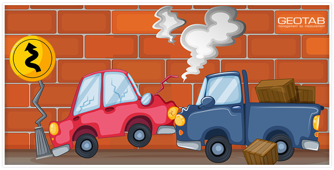 A red car crashed into a blue truck with a brick wall behind them